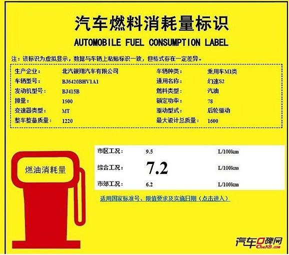 北汽幻速S2的燃料消耗量标识